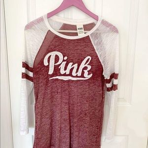 PINK Varsity Long Sleeve Top